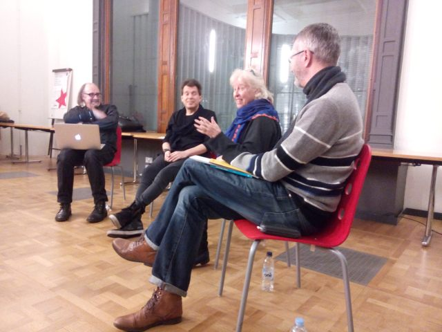 Salon 13 panel: Left to Right: Malcolm Garrett RDI, Alasdair Scott, Susan Benn and Sean Nixon