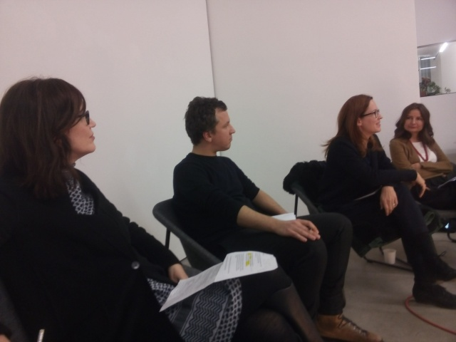 The view from the Chair, l. to r: Alison Clarke, Matthias Tarasiewicz, Martina Grünewald, Özlem Savas (not hidden this time)