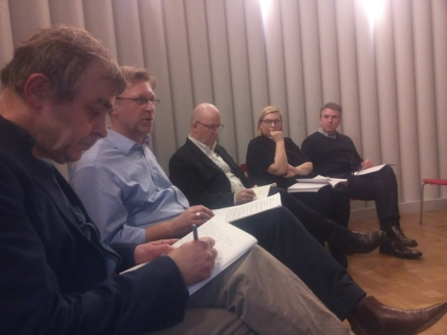 View from the Chair, l. to r.: Franco Bianchini, Alastair Donald, Michael Thomson, Sarah Mann, Robert Mull